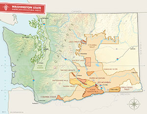 CLICK to view an interactive AVA map of Washington State and learn about different weather conditions that make each AVA different.